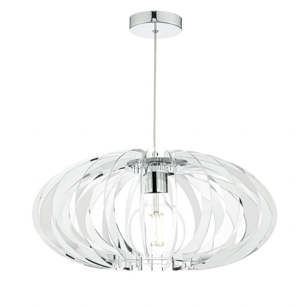 Enzo 1 Light Pendant Polished Chrome/ Clear